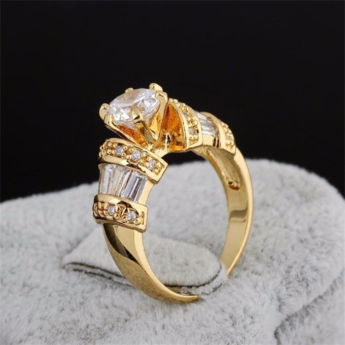 Luxury 24K Gold Plated with 1 Carat Quality CZ Diamond Ring