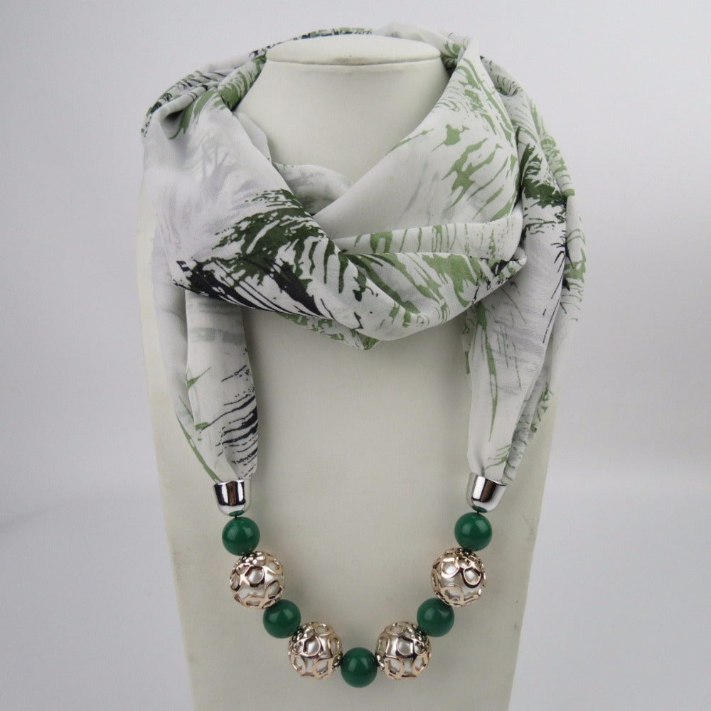 2018 New Design Charms Chiffon Scarf Necklace.