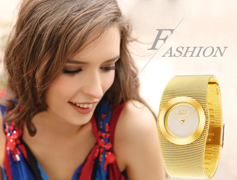 Fashion 18k Gold Plated Luxury Bracelet,Quarts Women Watch ,