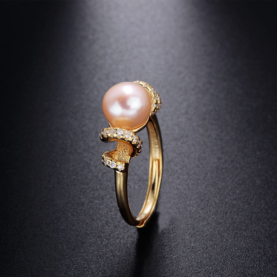 Genuine 18K Gold Plated With Top Quality Freshwater Pearl Women Ring