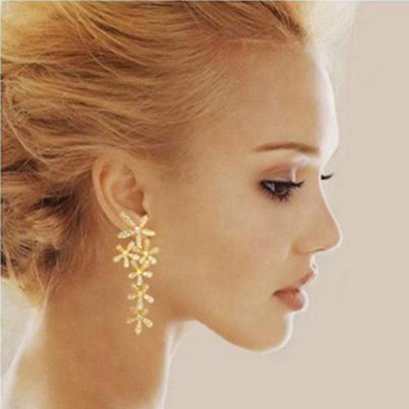2017 New Fashion Full Rhinestone Crystal, Long Snowflake Gold& Silver& plated Earrings