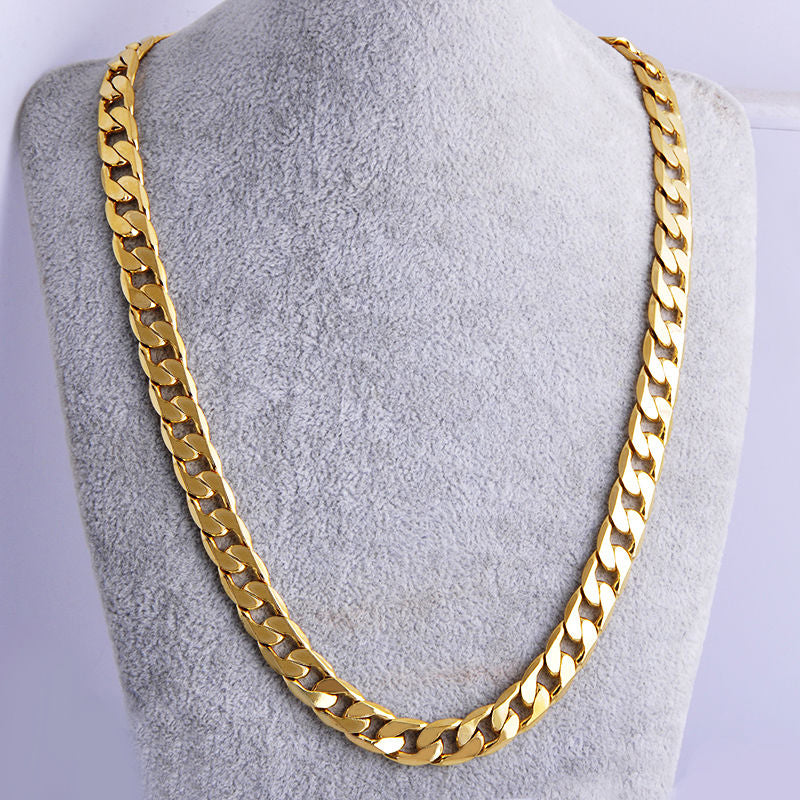 High quality 18 K Yellow Solid GOLD Plated Fat RIM CURB  23.6 inch Lenght,  10MM width  Unisex Necklace