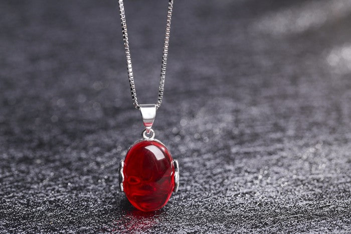 Certified  Luxury 5 Carat Red Crystal Pendant and 925 Solid Sterling Silver  Necklace