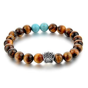 2018 Tiger Eye Natural Stone Mala Bead Yoga and Dog Hand Paw Elastic Rope Bead Bracelets. Fashion for Men and Women