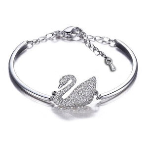 2018 Luxury Platinum plated and  Rose Gold Colour Women Bracelet Suicide Swan Charm Crystal Bracelets Bangles