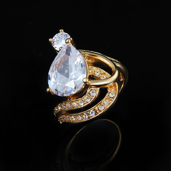 Classic 18k Gold Plated with Big Water drop crystal Ring
