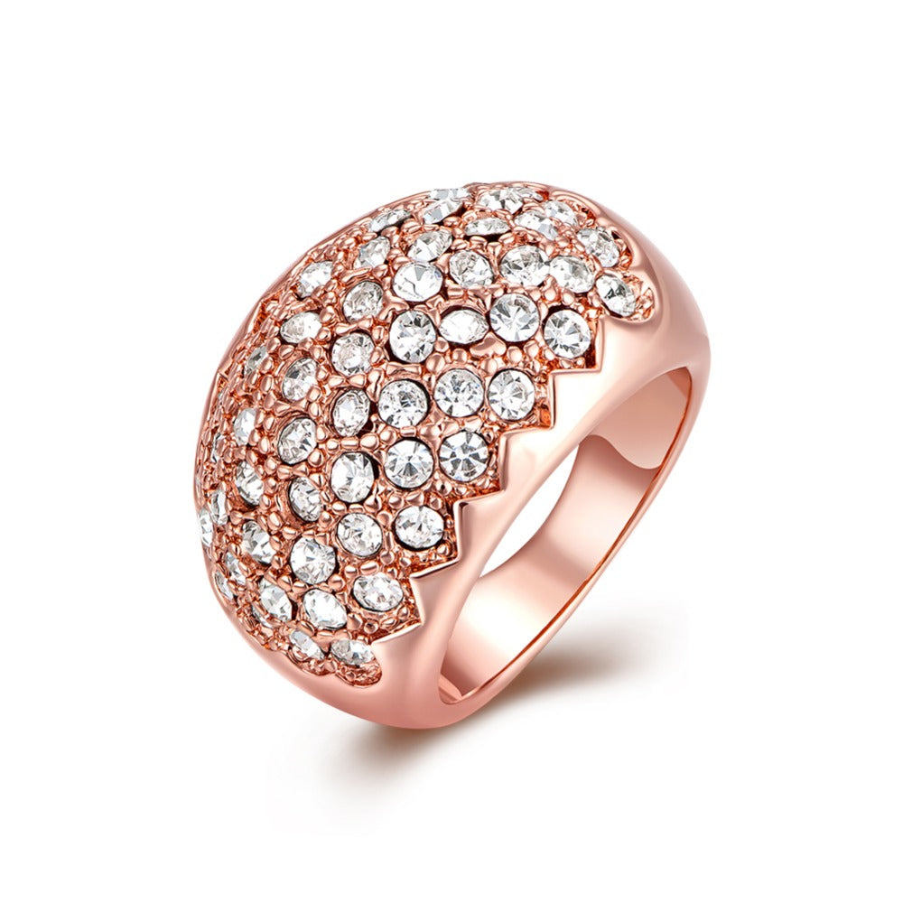 High Quality 18kgp Rose Gold &wihte gold  Finger Women Ring with  Wide Clear Crystals.