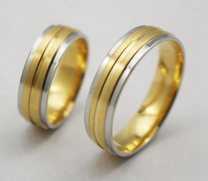 18k Gold Plated Stainless Steel Wedding Ring .