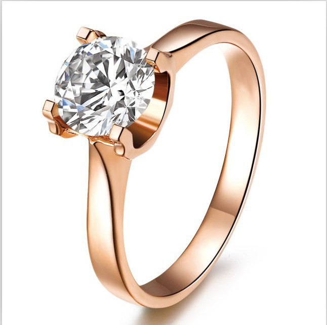 Genuine Guarantee 18K Rose Gold Plated Silver with 1Ct  NSCD Excellent Diamond Ring