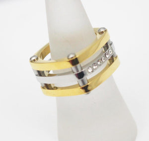 Top  Quality 2 Colours Ring, 18k Gold Plated Shiny Austrian Zircon Crystal Ring