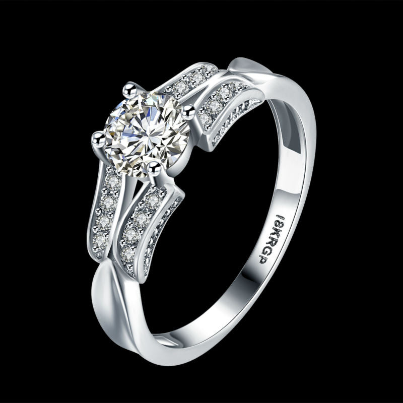 New Fashion 18K White Gold Plated  with Quality  Zircon Diamond Ring