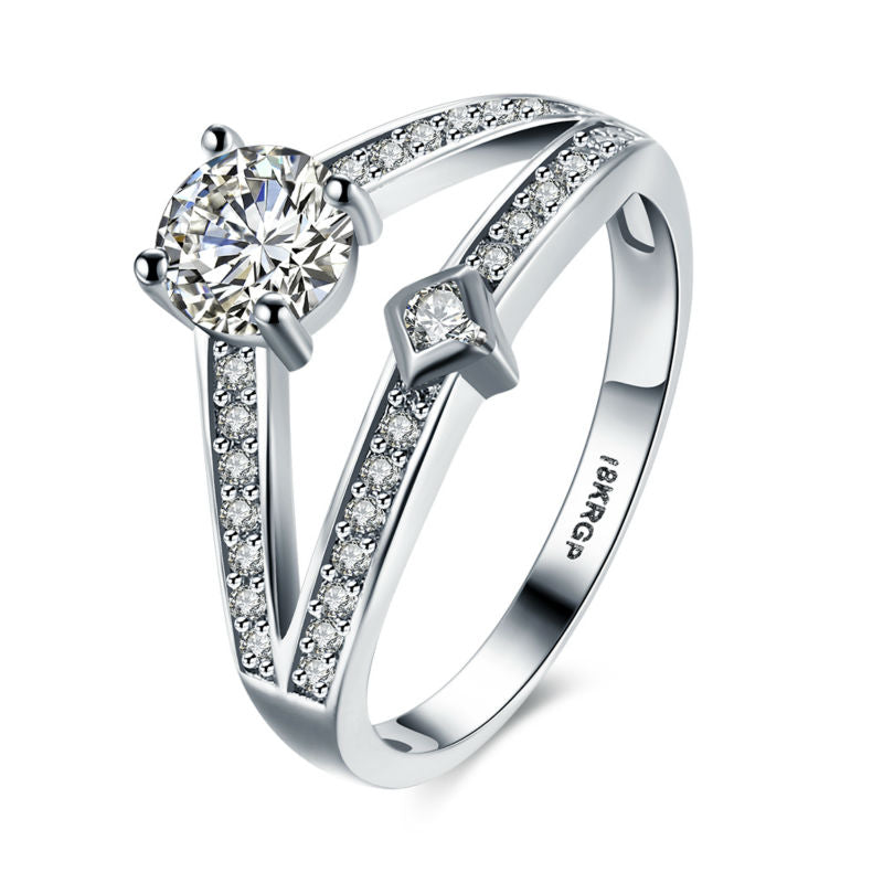 Best selling New Design 18K White Gold Plated with Quality   Zircon Diamond Ring