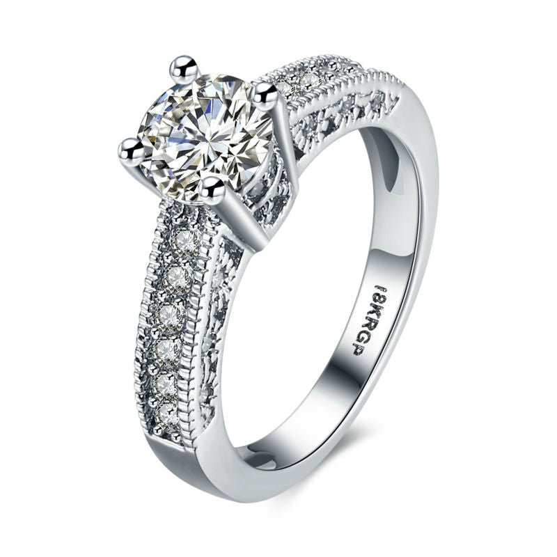 Top Quality 18K White Gold Plated Cubic Zircon Classic Jewellery Ring