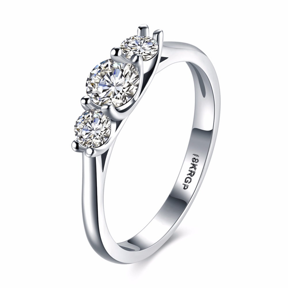 New Fashion 18k Gold Plated with  3 Quality Cubic Zircon Diamond Ring.