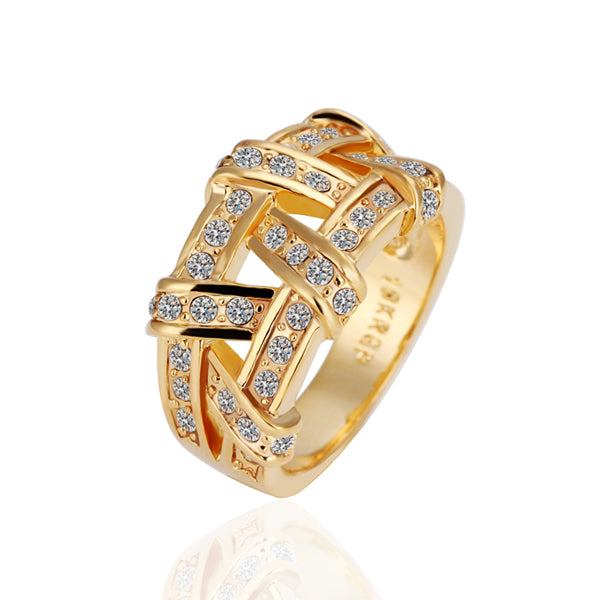 2018 new Genuine 24k Gold Plated Ring with Quality Clear CZ Zircon Diamond and Wide Big Rope Cross.