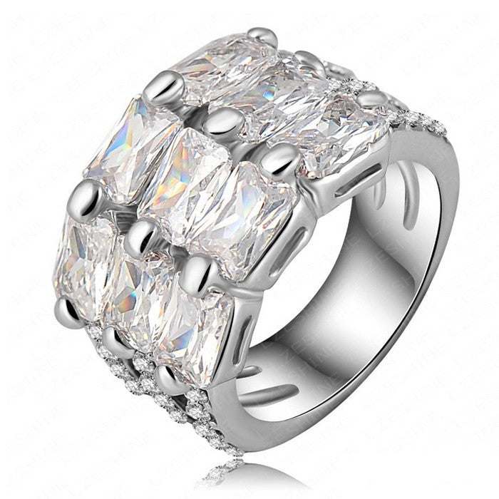 New Fashion Real 24K White Gold Filled  Ring with Rhinestone Crystal