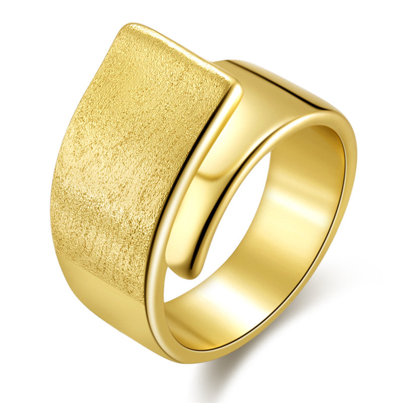 18K Gold Plated Big Wide Women Ring