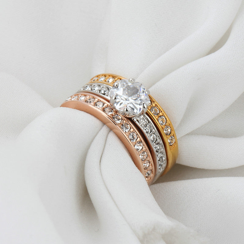 Luxury 18K Gold Plated with three-tiered Micro inlay high-grade zircon Daimonds Ring
