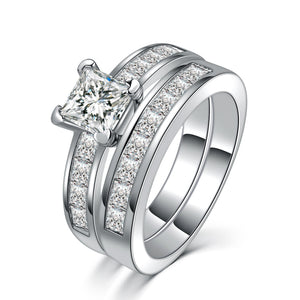 18K White Gold Plated with AAA  zircon  Double Ring