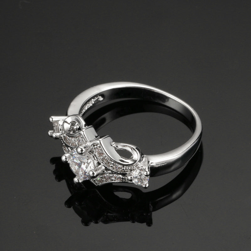 Fashion 18K White Gold Plated with AAA zircon jewelry. luxury Engagement Ring