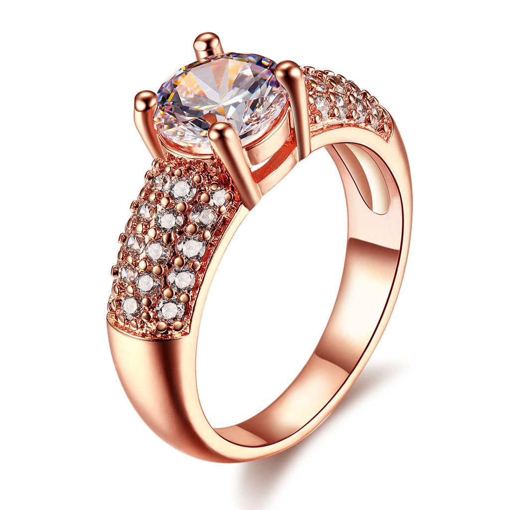 18K Rose Gold Plated Fashion luxury Ring with three rows of high-grade zircon .