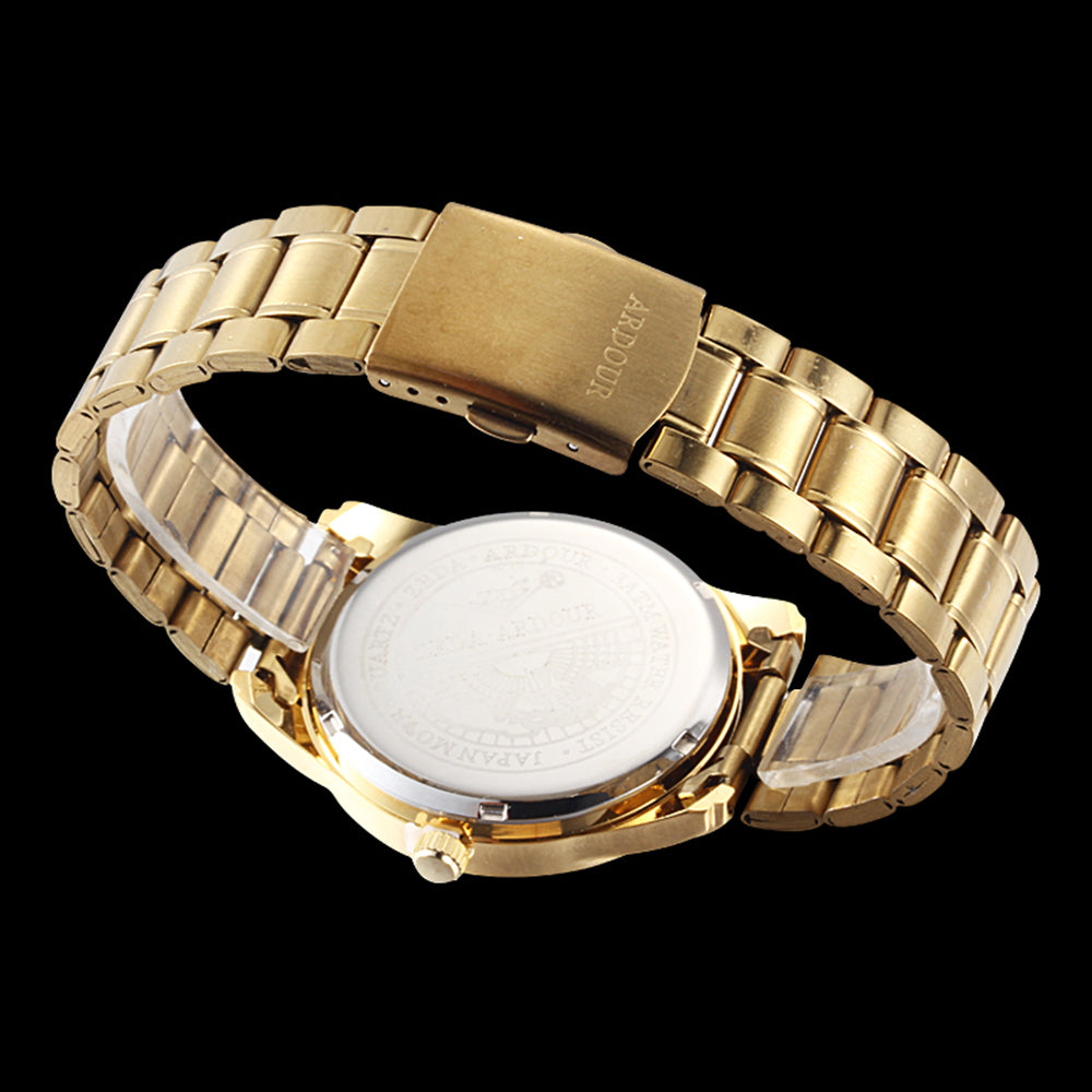 Luxury Business 18K Gold Plated Stainless Steel with Date &Day Display, Men's Wrist Watch