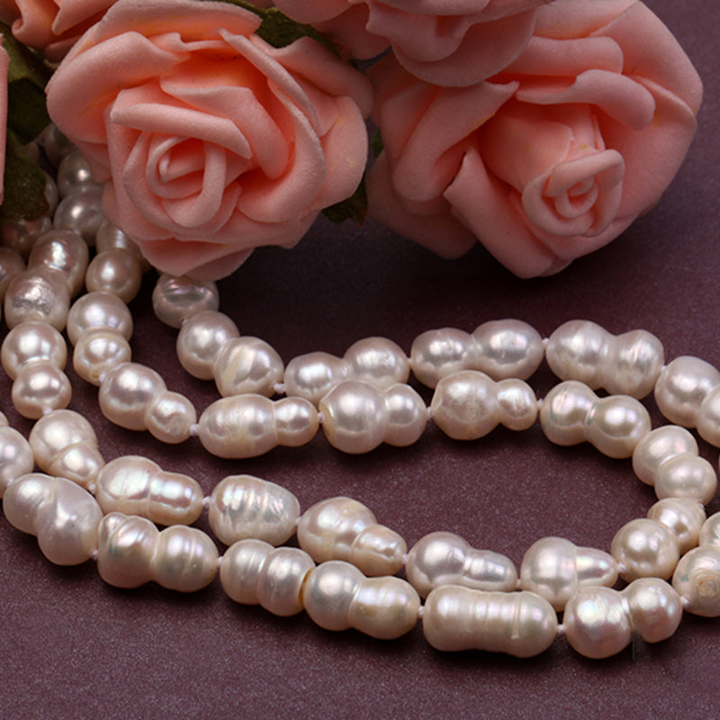 Natural South Sea Freshwater White Baroque Pearl Necklace .
