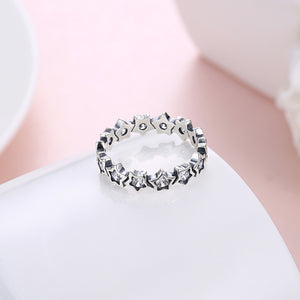 Certified Real Pure 925 Sterling Silver with  Vintage star Zircon Crystal Ring. Have Certificate