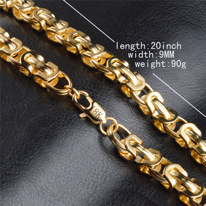 "Top Quality 18 K Gold Plate Bracelets and Necklace For Men & Women .Bracelet: 20 cm length 9mm Width,32.5 g weight .Necklace: 90 cm(20"")length, 9mm wide.90g weight"
