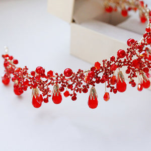 Romantic Top Quality Red Crystal Bridal Hairband.