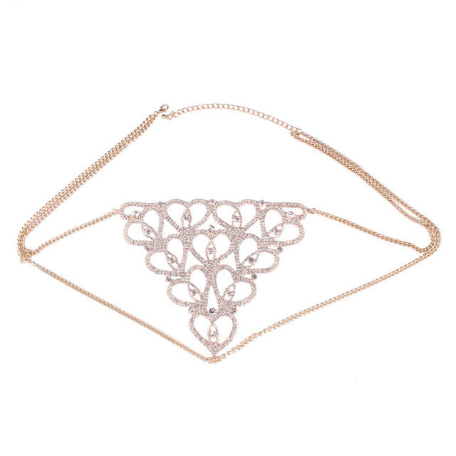 Sexy Body Jewelry , Hollow out Crystal Underwear.