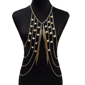 New Fashion Golden Crossover Harness Fringe Vest  Body Chain.