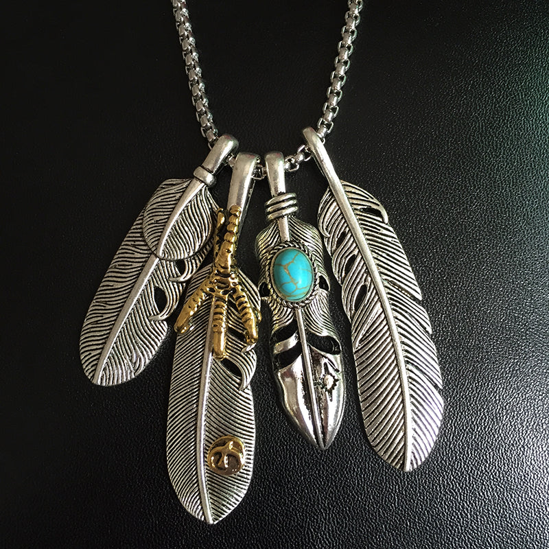 New Fashion Jewelry ,4 Feathers Necklace with Retro Chain,