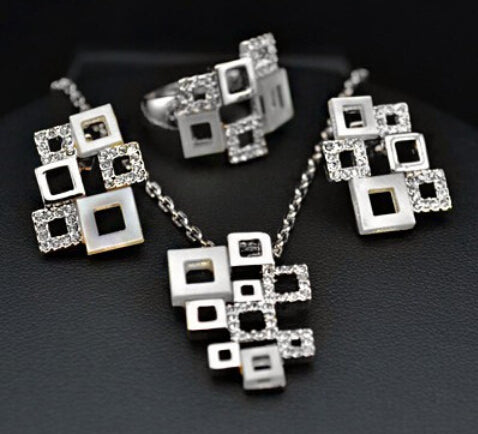 18k White Gold with Austrian crystals quartet puzzle set , Necklace  +  Earrings  +  ring. Wholesale Price