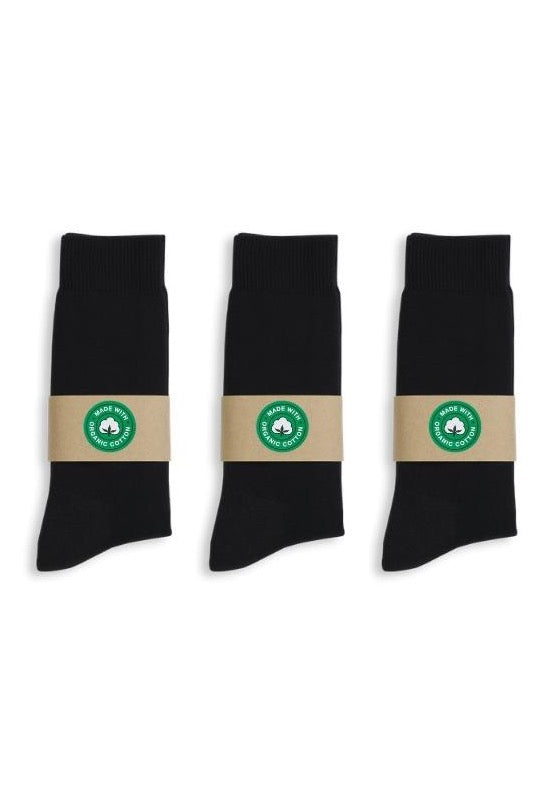 Basic Black Organic Cotton Crew Socks (3-pack)