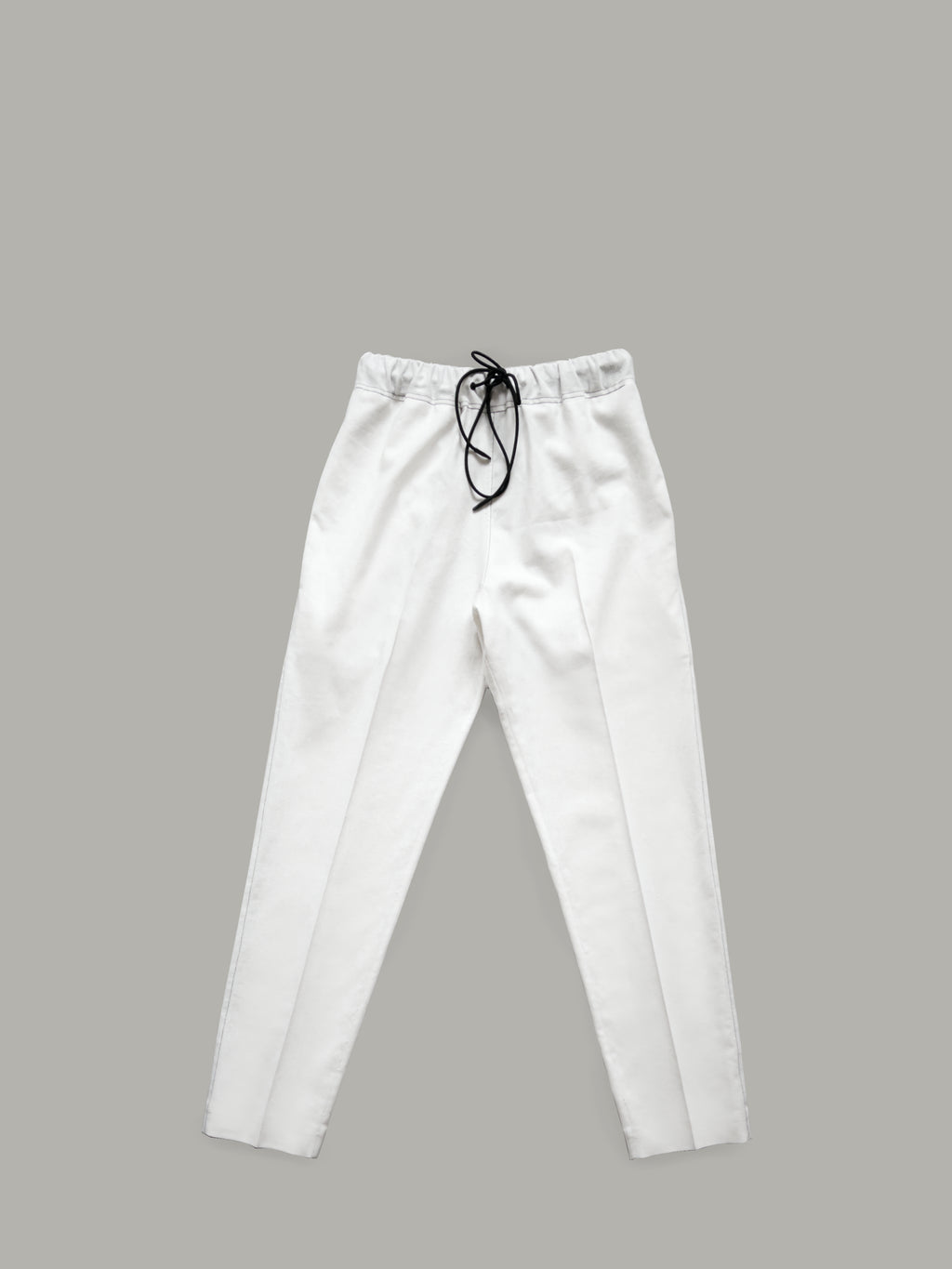 OFF-WHITE PURE LINEN TROUSERS WITH CONTRAST TOPSTITCHING DETAILS