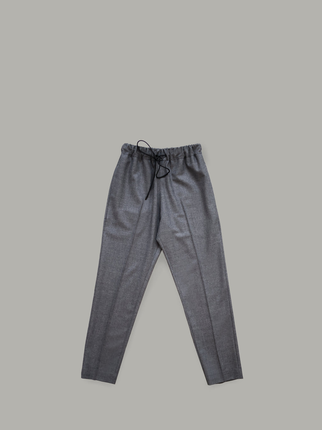 GREY WOOL TROUSERS WITH DRAWSTRING WAISTBAND
