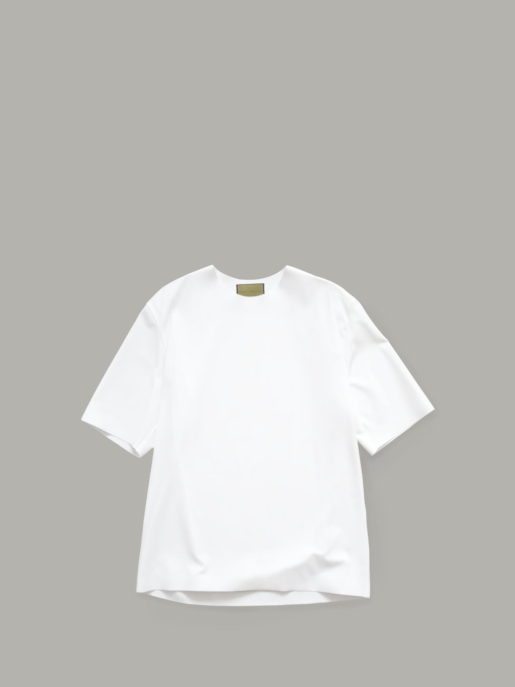 ROUND NECK T-SHIRT WITH BONDED DETAILS - WHITE