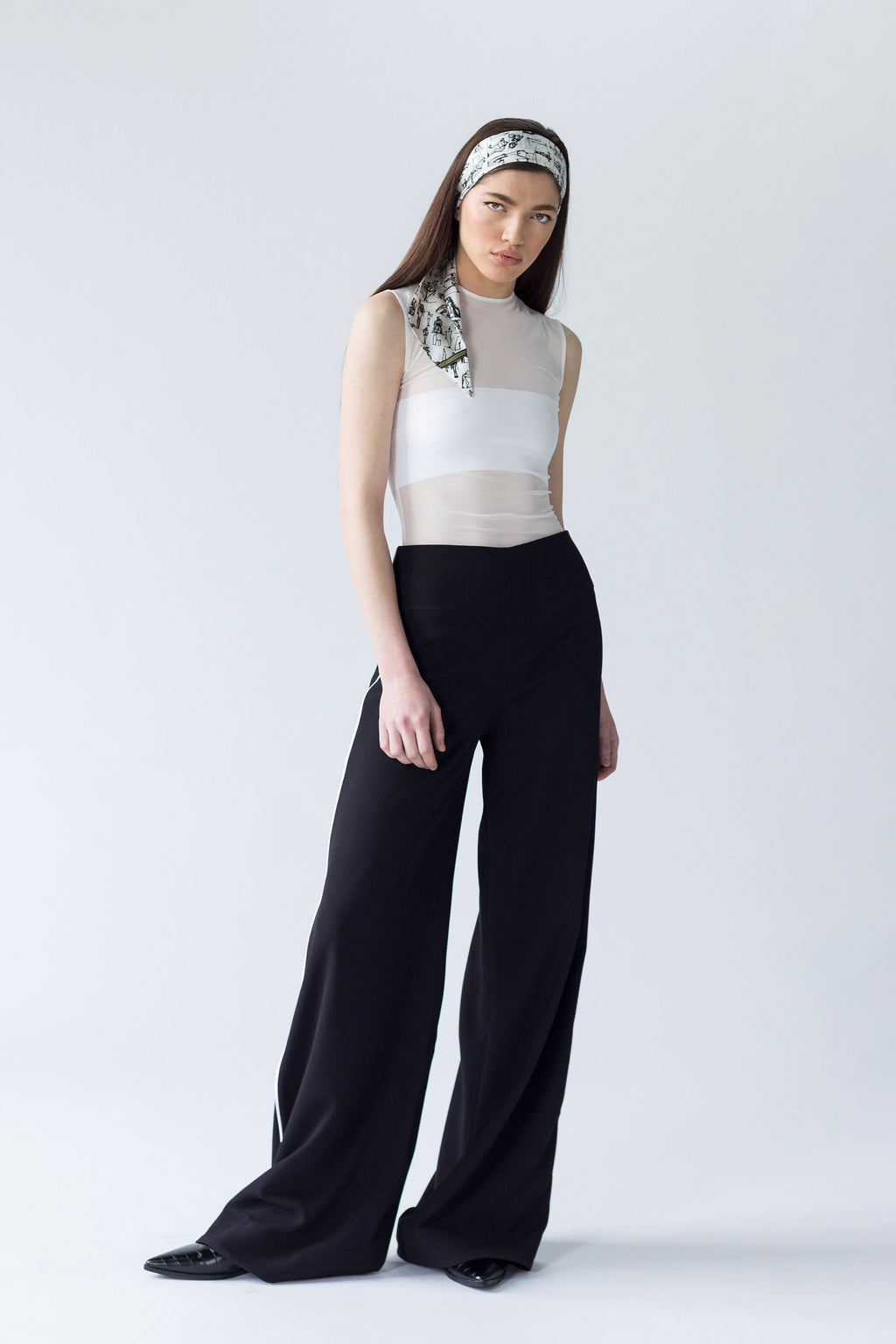 SMOOTH WIDE LEG TROUSERS WITH CONTRASTING INSERTION | BLACK