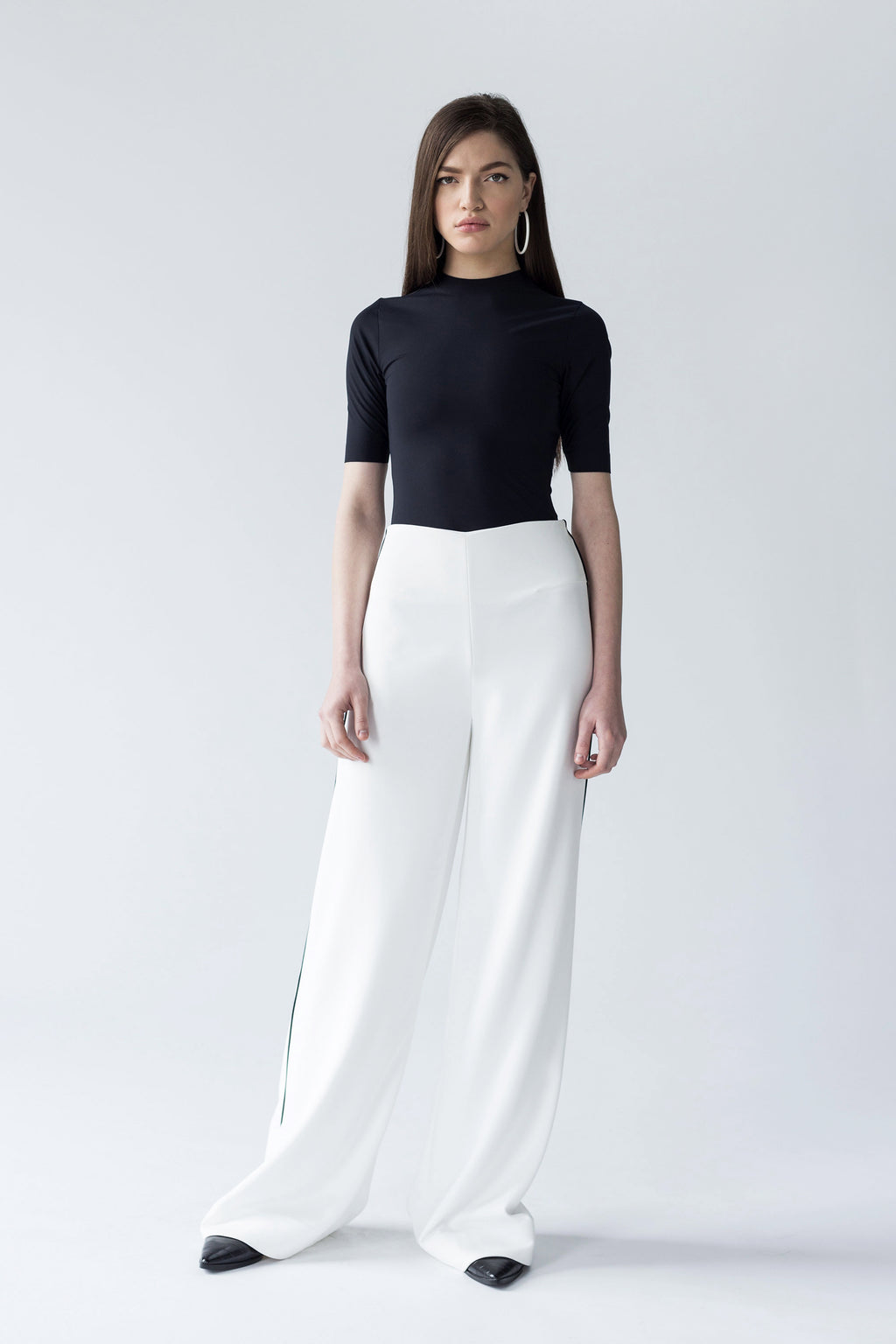 SMOOTH WIDE LEG TROUSERS WITH CONTRASTING INSERTION | WHITE