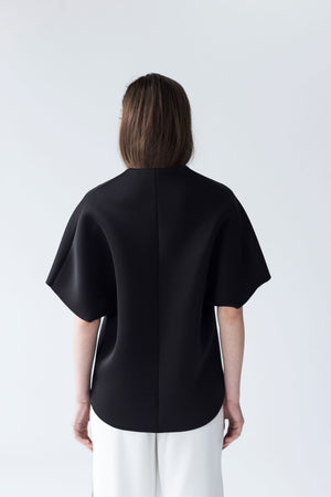 OVERSIZED NEOPRENE TOP WITH V SHAPED NECKLINE