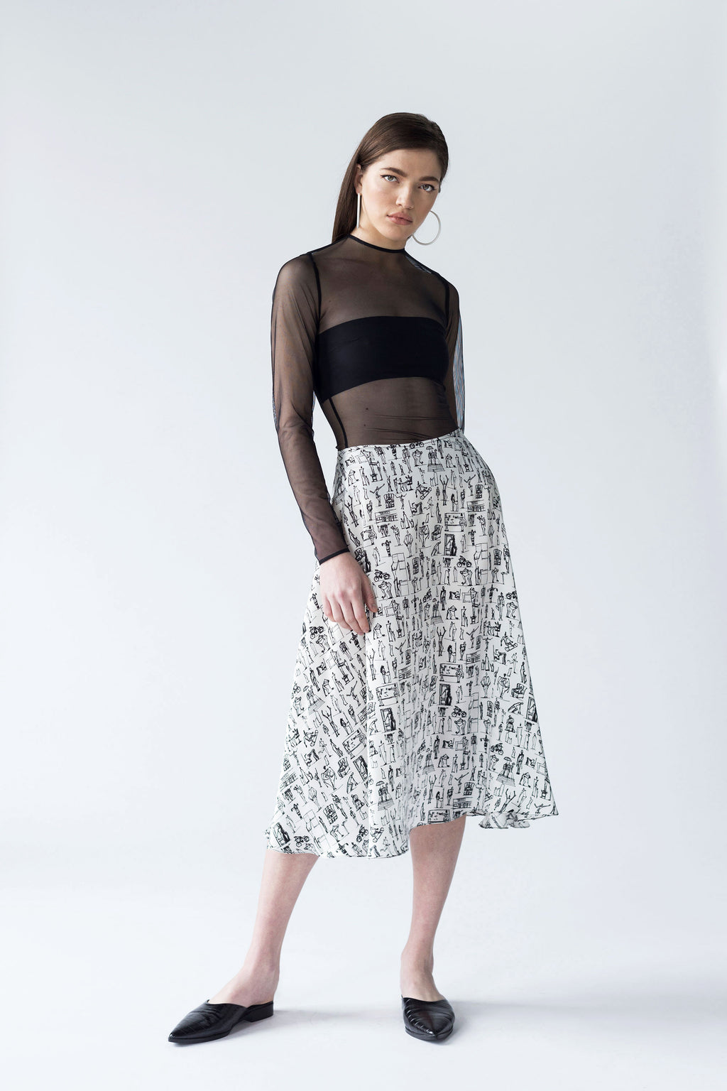 A-LINE SKIRT IN DIGITALLY PRINTED SILK