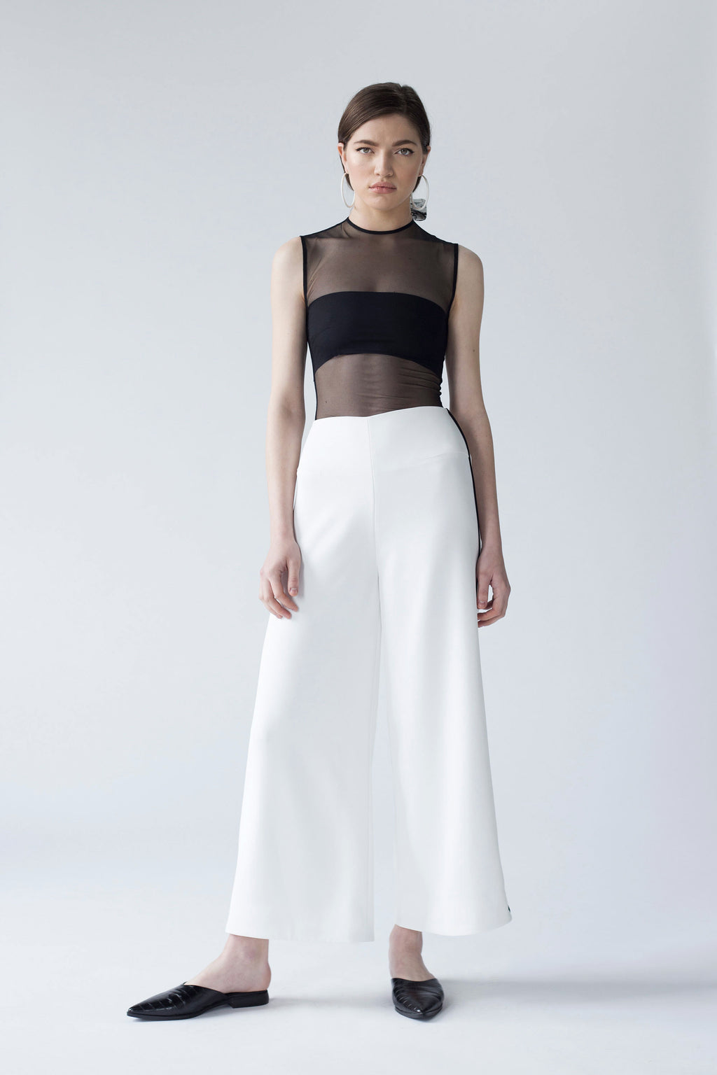 WIDE LEG CULOTTES WITH CONTRASTING INSERTION | WHITE