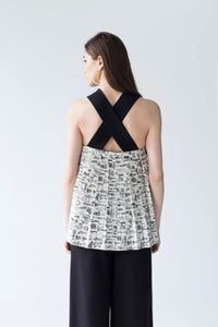 TOP WITH BACK PLEATED PANEL