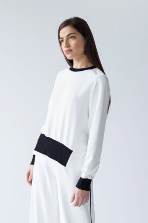 CREPE SWEATSHIRT WITH WRAP SEAMS