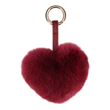 Load image into Gallery viewer, FUR HEART KEYCHAIN // BURGUNDY