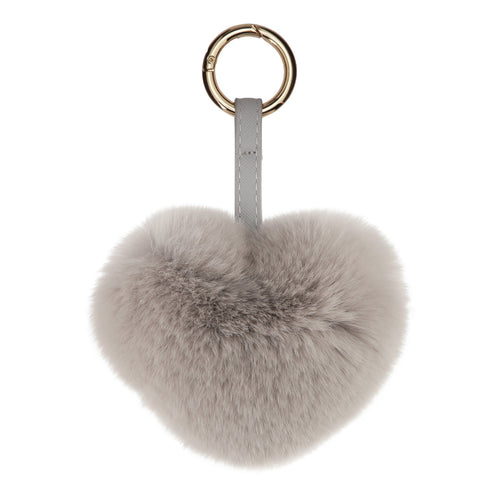 FUR HEART KEYCHAIN // LIGHT GREY