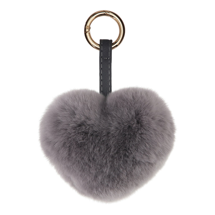 FUR HEART KEYCHAIN // DARK GREY