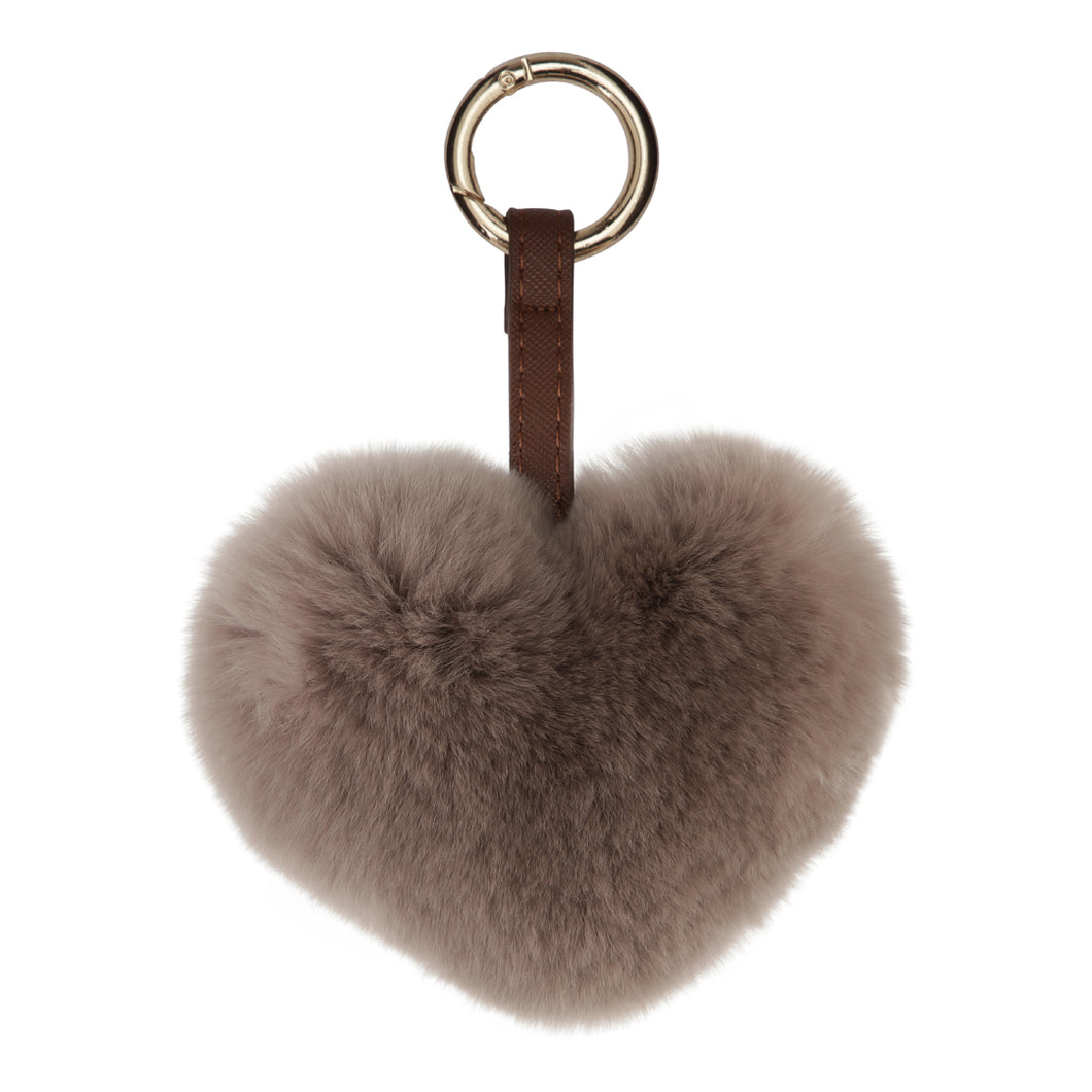 FUR HEART KEYCHAIN // BROWN