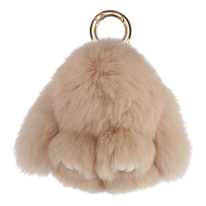 FUR RABBIT KEYCHAIN // BEIGE